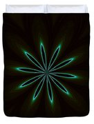 Contemporary Teal Floral On Black Duvet Cover