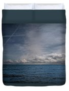 Contrails And Rainclouds Over Lake Michigan Duvet Cover