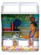 Cooking In The Marketplace In Tachilek-burma Duvet Cover
