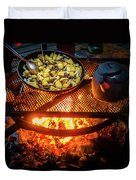 Cooking Meat And Potatoes Duvet Cover