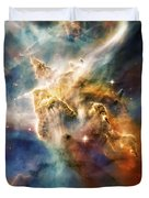 Cool Carina Nebula Pillar 4 Duvet Cover by Jennifer Rondinelli Reilly - Fine Art Photography