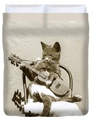 Cool Cat Playing A Guitar Circa 1900 Historical Photo By Photo  Henry King Nourse Duvet Cover