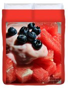 Cool Snack - Watermelon And Blueberries Duvet Cover