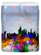 Copenhagen Watercolor Skyline Duvet Cover