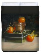 Copper Pot And Persimmons Duvet Cover