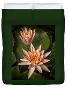 Coral Pink Water Lilies Duvet Cover