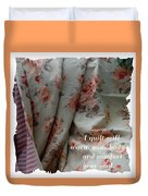 Coral Rose Quilt With Quote Duvet Cover