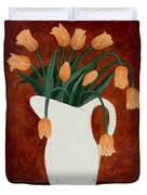 Coral Tulips In A Milk Pitcher Duvet Cover