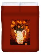 Coral Tulips In Stained Glass Duvet Cover