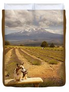Corgi And Mt Shasta Duvet Cover