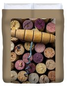 Corkscrew On Top Of Wine Corks Duvet Cover by Garry Gay