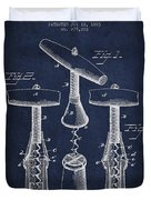 Corkscrew Patent Drawing From 1883 Duvet Cover