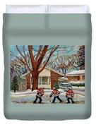 Cormac And Friends Neighborhood Hockey Game Ottawa Suburban City Scene Duvet Cover