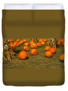 Corn Plants With Pumpkins In A Field Duvet Cover