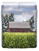 Corn With A Red Barn  Duvet Cover