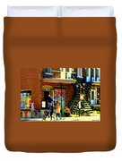 Corner Laurier Marche Maboule Depanneur Summer Stroll With Baby Carriage Montreal Street Scene Duvet Cover