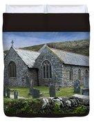Cornish Seascape St Winwaloe Church Duvet Cover