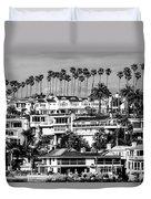 Corona Del Mar California Black And White Picture Duvet Cover