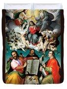 Coronation Of The Virgin With Saints Luke Dominic And John The Evangelist Duvet Cover