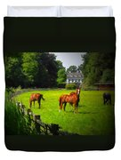 Corralled Horses - Featured In And Lets All Participate And Abc Groups Duvet Cover