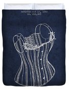 Corset Patent From 1882 - Navy Blue Duvet Cover