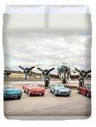 Corvettes And B17 Bomber Duvet Cover