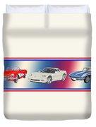 Corvettes In Red White And True Blue Duvet Cover