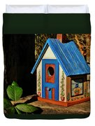 Cottage Birdhouse Duvet Cover
