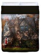 Cottage - Cranford Nj - Autumn Cottage  Duvet Cover by Mike Savad