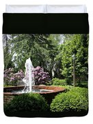 Cottage Garden Fountain Duvet Cover