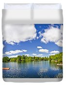 Cottage Lake With Diving Platform And Dock Duvet Cover by Elena Elisseeva