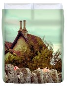 Cottage Seen Over A Wall Duvet Cover