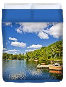 Cottages On Lake With Docks Duvet Cover by Elena Elisseeva