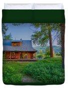 Cottonwood Cottage At Sunset Duvet Cover