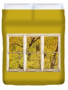 Cottonwood Fall Foliage Colors Rustic Farm Window View Duvet Cover