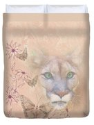 Cougar And Butterflies Duvet Cover