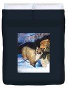Cougar In Snow Duvet Cover