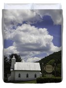 Country Church And Sign Duvet Cover