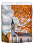 Country Church Under Fall Colors Duvet Cover