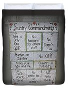 Country Commandments Duvet Cover