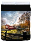 Country Covered Bridge Duvet Cover by Debra and Dave Vanderlaan