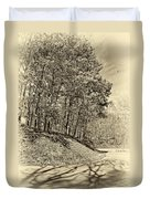 Country Curves And Vultures Sepia          Duvet Cover