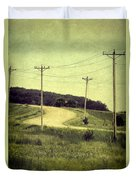 Country Dirt Road And Telephone Poles Duvet Cover