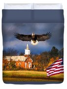 country Eagle Church Flag Patriotic Duvet Cover