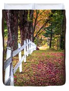 Country Lane Fall Foliage Vermont Duvet Cover
