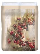 Country Wreath With Red Berries Duvet Cover