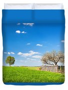 Countryside Landscape During Spring With Solitary Trees And Fence Duvet Cover