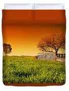 Countryside Orchard Landscape At Sunset. Spring Time Duvet Cover