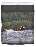 Couple Boating On Lake, Maine, Usa Duvet Cover