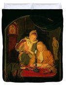 Couple Counting Money By Candlelight, 1779 Panel Duvet Cover